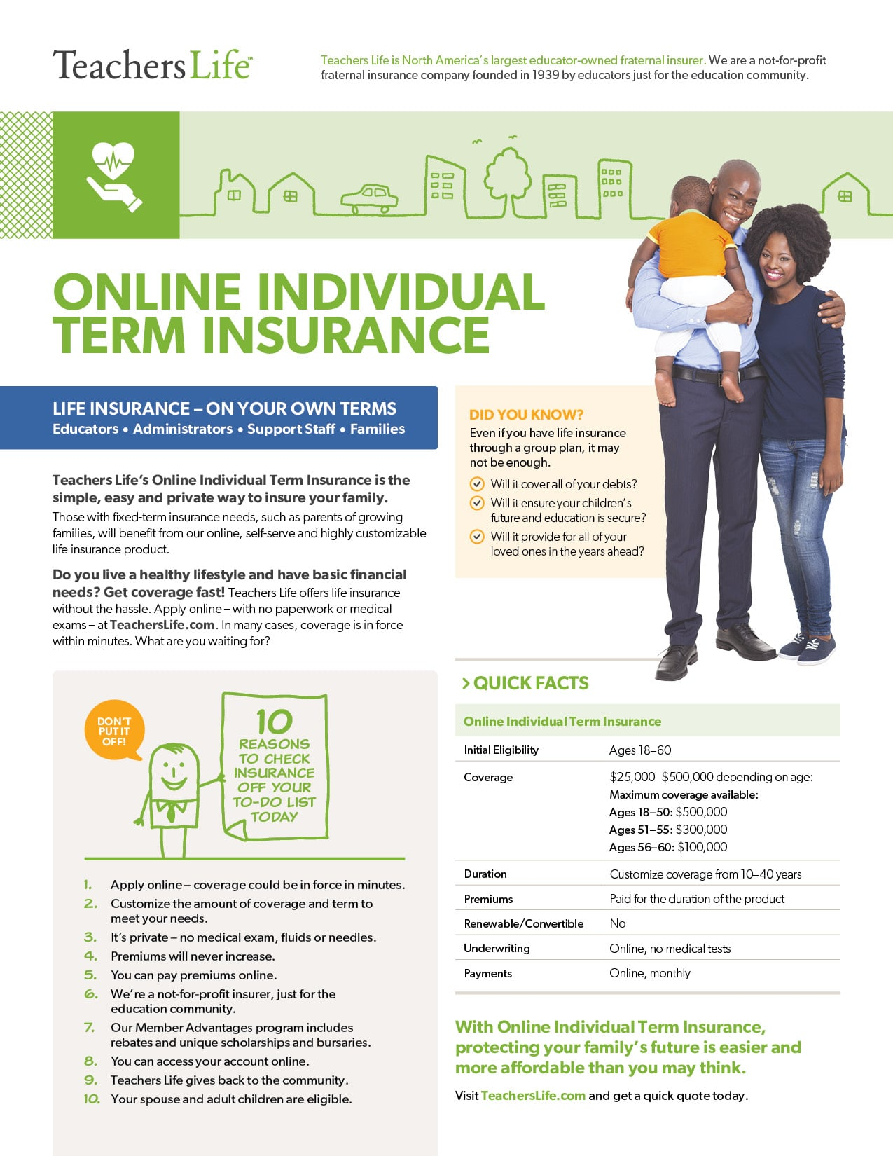 Teachers Life Online Individual Term Insurance