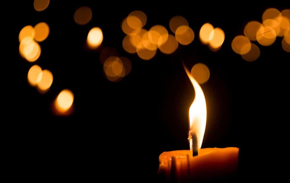 orange candles in the dark